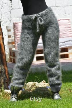 Designer Hand Knitted Mohair Pants Sweater Soft Legwarmers Black Mix Joggers Fuzzy Leggings MADE to ORDER