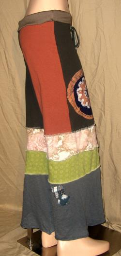 DeviDesigns Wide Leg Scrappy Patchwork Cotton Knit Yoga Pants Repurposed Gypsy Junk Fold Over Waist S SMALL M Medium Batik Applique