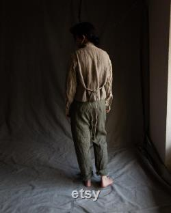 Dusty green linen buttoned pants DICKENS. Khaki grey trousers linen womens clothing harem drop crotch cropped pants victorian vintage