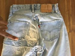 Early 80s Levi Redline Selvedge 501 Distressed Jeans Waist 25