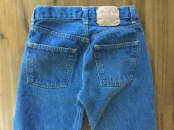 Early 80s Medium Dark Blue Levi 501 Jeans Red Tab Button Fly Waist 25