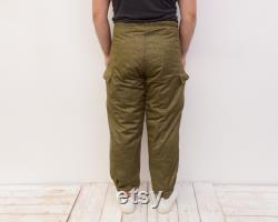 East Germany DDR Army Winter Insulated warm Men's W34 L30 Pants Cargo Trousers, Military Vintage Winter Cotton Surplus Combats Rare 1r