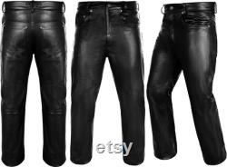 Ededas Black Leather Motorbike Pants for Men s Motorcycle Bikers Cow Skin Full Grain Heavy Duty adult Leather Pant Free Shipping