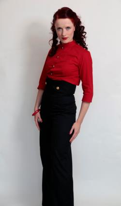 Extreme high waisted trousers, wide leg, sailor style, vintage inspired