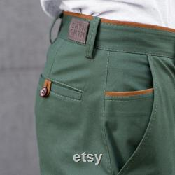 Forest Green Chinos Limited Edition Green chinos, business casual mens pants Big and tall men custom orders
