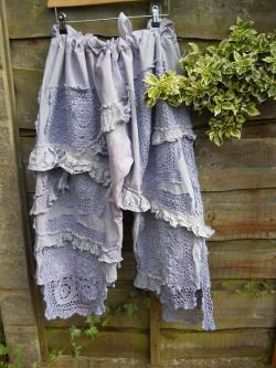 Free withwide ship OOAK RITANOTIARA Victorian Romantic Lagenlook Lavender Pearl Bloomers Trousers with Vintage Crochet Rodeo Prairie look OSFA