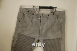 French Workwear Pants or Trousers Gray Striped Patched and Timeworn Vintage Clothing 48 inch waist