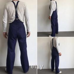 French Workwear Vintage 1970s Overall Sanforized Cotton Indigo Work overall Dungarees Size 68 Deadstock