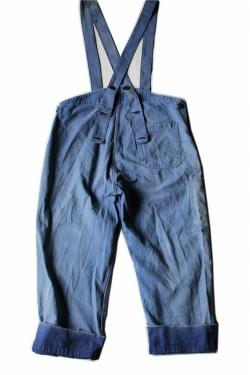 French vintage patched work half overalls France 1960's patchwork blue cotton 255