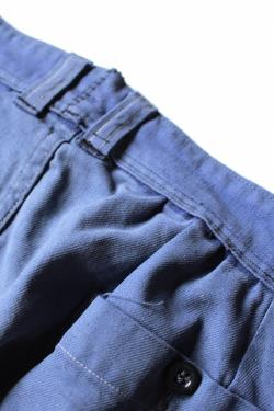 French vintage patched work pants France 1950's faded blue cotton re-size repaired hand stitch 210