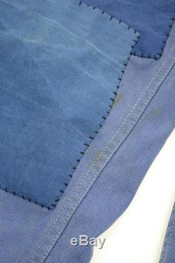 French vintage patched work pants France 1960s faded blue cotton patchwork handwork remade hand stitched 401