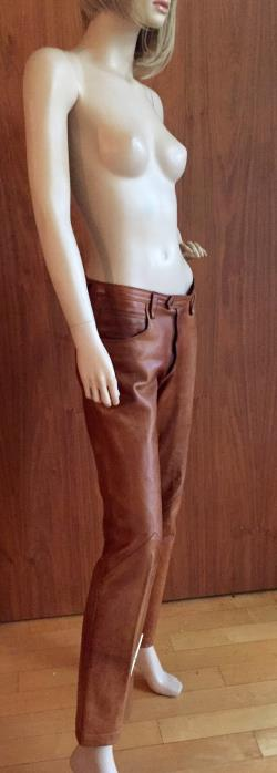 GORGEOUS whiskey colored vintage Ralph Lauren leather pants, pockets, long, brown, 90's, 80's, 70's, tan, 5 pockets, made in France