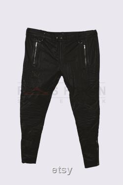 Genuine Handmade Leather Mens Zippers Pants Soft Leather Trousers Steampunk Black Leather Pants Gothic Pants Gift For Him