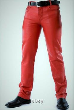 Genuine Sheep Skin Leather pants Mens Real Leather Pants Skin Fit Pants Leather Jeans Red Pants Gift for Men Handmade Real Leather pants