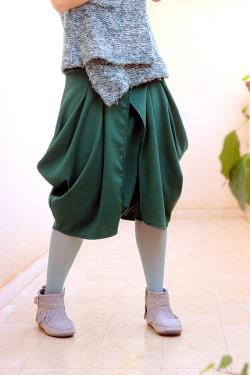 Green Boho Harem pants for women. Spacial design skirt and pants 2-in-1. Bohemian style drop crotch jersey trousers. Sizes S M L XL