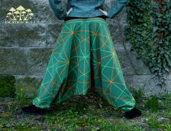 Green Handdyed Green-Orange Blacklight Reactive Sacred Geometry Pattern by my Hands on Handmade Harem Pants