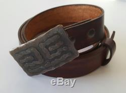 Hand Forged Hypoallergenic Belt and Buckle SET Stainless Steel withBronze Buckle Hand Dyed Woodgrain Leather Belt For 1.5 Belt Jeans Chinos