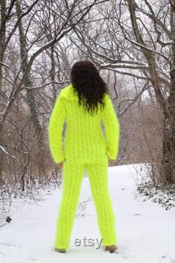 Hand Knit Mohair Pants,Handmade Union Suit,Thick and Fluffy