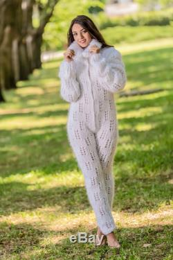 Hand Knitted Tiffy Mohair Turtleneck Sweater Overall Catsuit Fuzzy Hairy Fluffy Unisex Made to order no angora Onesize T 334