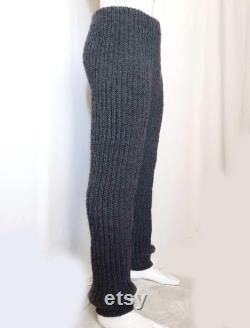 Hand knitted 100 WOOL mens pants elastic woolen thick trousers, soft , many colors, any size