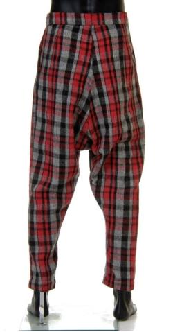 Hand made pants trousers with low crotch. Red and gray checker. Two pockets on the sides. Unique, only one. Polish fashion designer W.I.L.K.