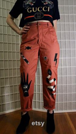 Hand painted witchy pleated Express pants size 4