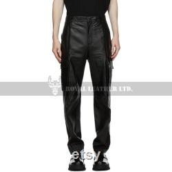 Handcrafted Leather Men Straight Fit Pants- Genuine Sheep Skin Handmade Cargo Pants -Casual Leather Pants-Club Wear- Pride Walk Pant
