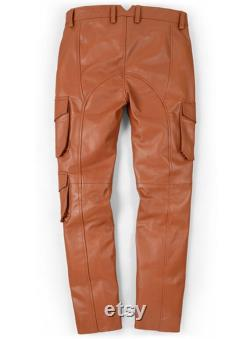 Handmade Genuine Brown Sheep Leather Pants Front Lace Trousers For Men Biker Pants Gift For Him Cargo Pants Motorcycle Pants