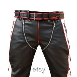 Handmade Men Real Black and White with Red Piping Cow Leather Heavy Duty Bondage Pants Jeans BLUF Gay Pant