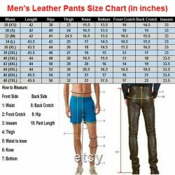 Handmade Men's Leather Pants Front and Back Laced Up Black Bikers 100 Real Lamb Leather Top Style