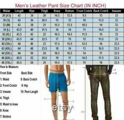 Handmade Men's Real High Quality Cowhide Leather Pants Carpenter Leather Pants
