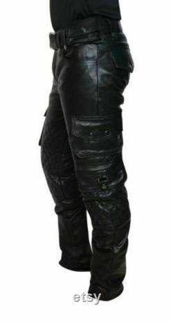 Handmade Pant Men's Genuine Leather Cargo Pants jeans Trousers