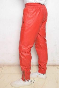 Handmade men red biker leather trouser. casual jean pant for mens, biker style ribbed pants