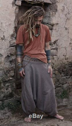 Harem pants made of wool with tribal embroidery