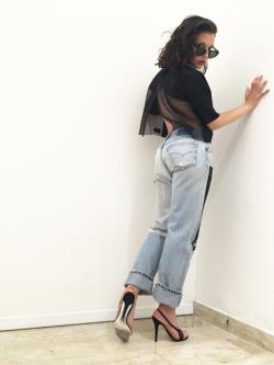 High-Waisted Jeans Graphic Jeans Vintage Levi's Hand Painted LOLA DARLING 10 Black White Square