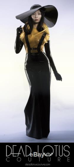 INCISO Trousers Black latex flared palazzo trousers with adjustable straps