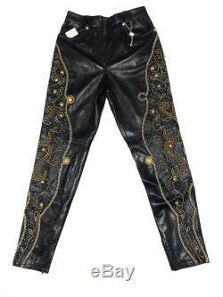 Iconic Gianni Versace Leather Pants Studded Medusa not gucci balenciaga louis vuitton chanel