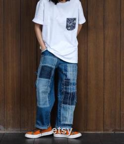 Japanese Blue Handmade Hand Sew Unisex Relaxed Fit Patchwork Washed Denim Pants Jeans