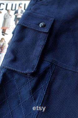 Japanese Blue Natural Plant Dyed Handmade Kendo Fabrics Unisex Japanese Relaxed Fit Worker Cargo Pants