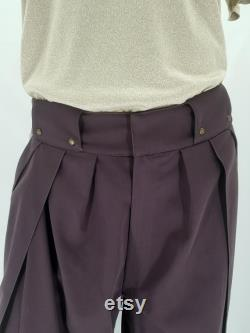 Japanese Hakama pants revisited casual taupe kamon pattern, inspired by traditional pants and martial arts with Japanese fabric