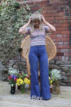 Jean Genie Vintage c. 1970s Flares Flared Wide Leg Jeans Trousers High Waisted 100 Cotton No Stretch W28 L34