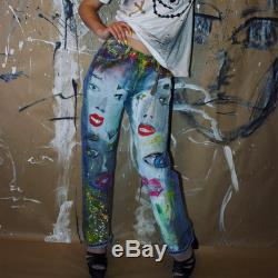 Jeans Boyfriend Jeans festival clothing Hand Painted Paint Jeans pattern Hand Painted Jeans jeans birthday anniversary art