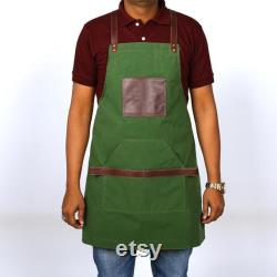 Kilty Unisex Sheep Leather Apron Dual Tone Green and Brown