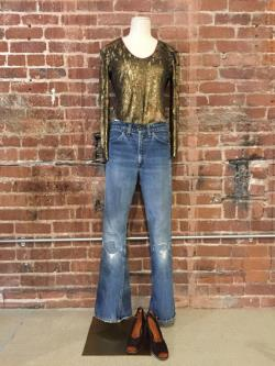 Late 60s Early 70s Levi's Big 'E' Orange Tab 684 Elephant Bells Ripped and Repaired
