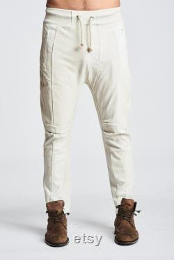 Leather Drop Crotch Pant Ivory
