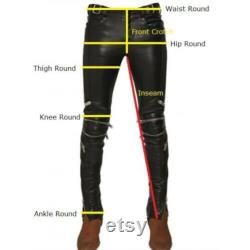 Leather Pants For Men's, Vegan Leather Jeans Pants, Leather Cargo, Waist Pant, Lambskin Pants, Red Leggings, Plus Size New 10