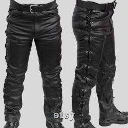 Leather pant men MOTOR Men's high quality leather trousers