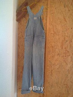 Lee Overalls 60s Hickory Stripe sz. 6 8, Vintage Lee Denim Striped Engineer Dungarees 1960s, Classic Railroad Conductor Retro Pants Small