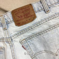 Levis 560 Loose Fit Tapered Leg Light Wash 38 x 32 Distressed USA High Waist Rise Holes Fraying Splatter Grunge Mom Jeans Dad Jeans 90's