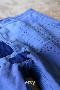 MITSUGU SASAKI French vintage patchwork blue work pants with sashiko France patched workwear faded blue hand stitched repair vetra 065